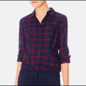 The Limited Navy/Red Windowpane Button Down Shirt